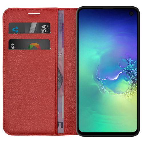 Leather Wallet Case & Card Holder Pouch for Samsung Galaxy S10e - Red